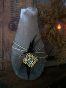 Natural Vase w/Jute and Olde Multistone Brooch