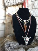 Multi colored Stone w Steer Skull Necklace