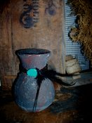 Grungy Earthen Pottery with/Turqoise & Feathers