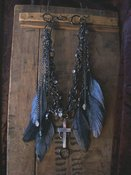 Marcasite Bead and Chain Necklace w Crtoss/Rhinestones and feather necklace