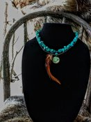 Turquoise/Abalone n Feather Moon- necklace